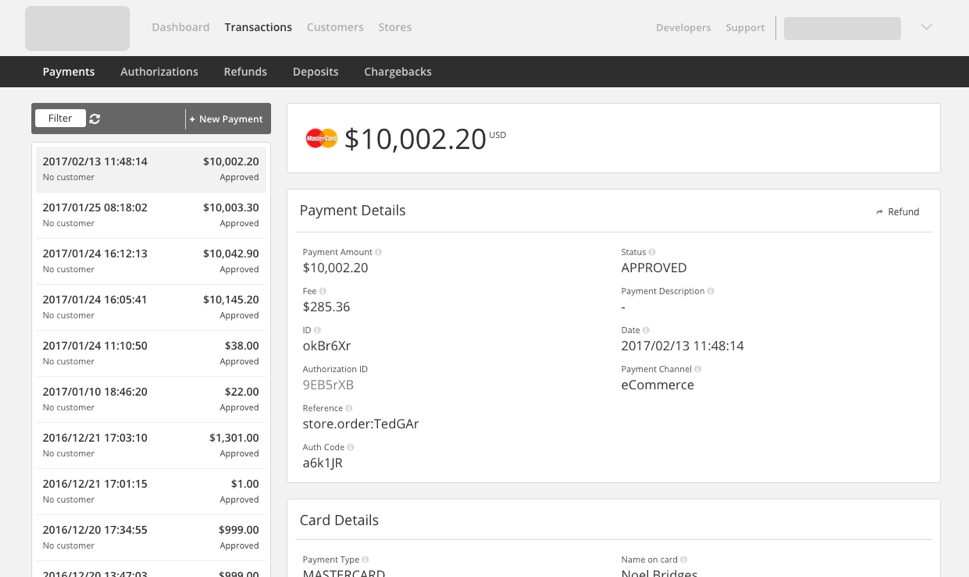 Payment view in Simplify Commerce